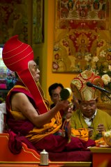 His Holiness the Dalai Lama with Sogyal Rinpoche in Lerab Ling august 2008 Photo 3 sizes