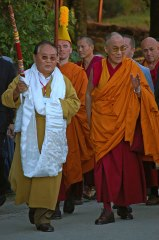 His Holiness the Dalaï Lama with Sogyal Rinpoche and Matthieu Ricard in Lerab Ling 2008 3 sizes