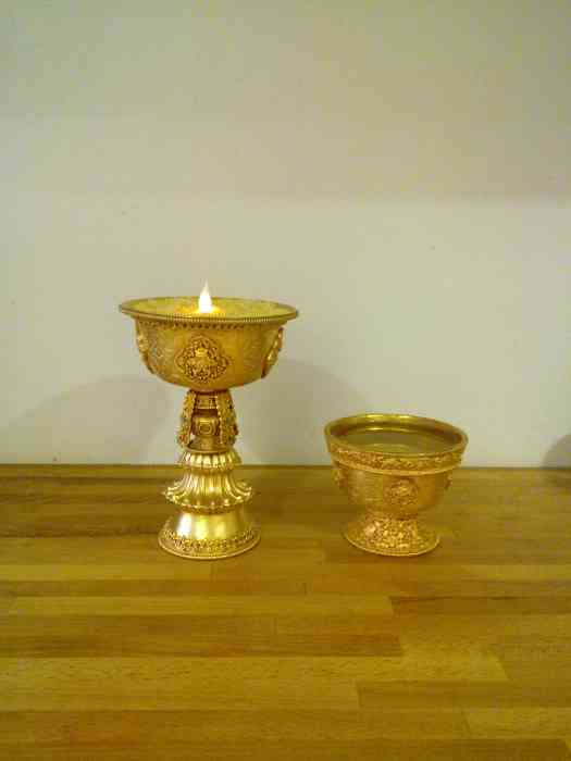 Gold Butter Lamp and Offering Bowls