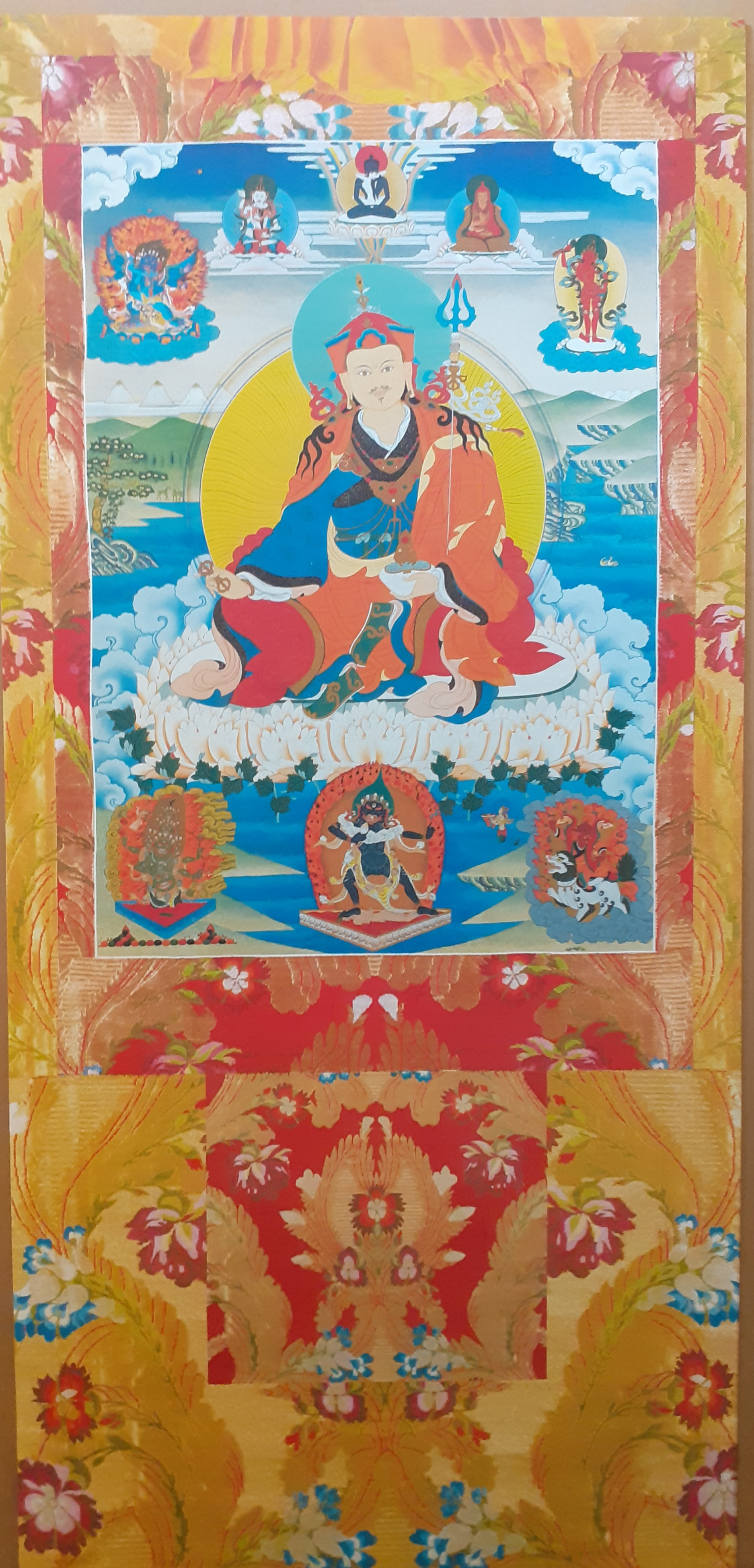 Guru Rinpoche Vinyl Thangka Yellow - Click Image to Close
