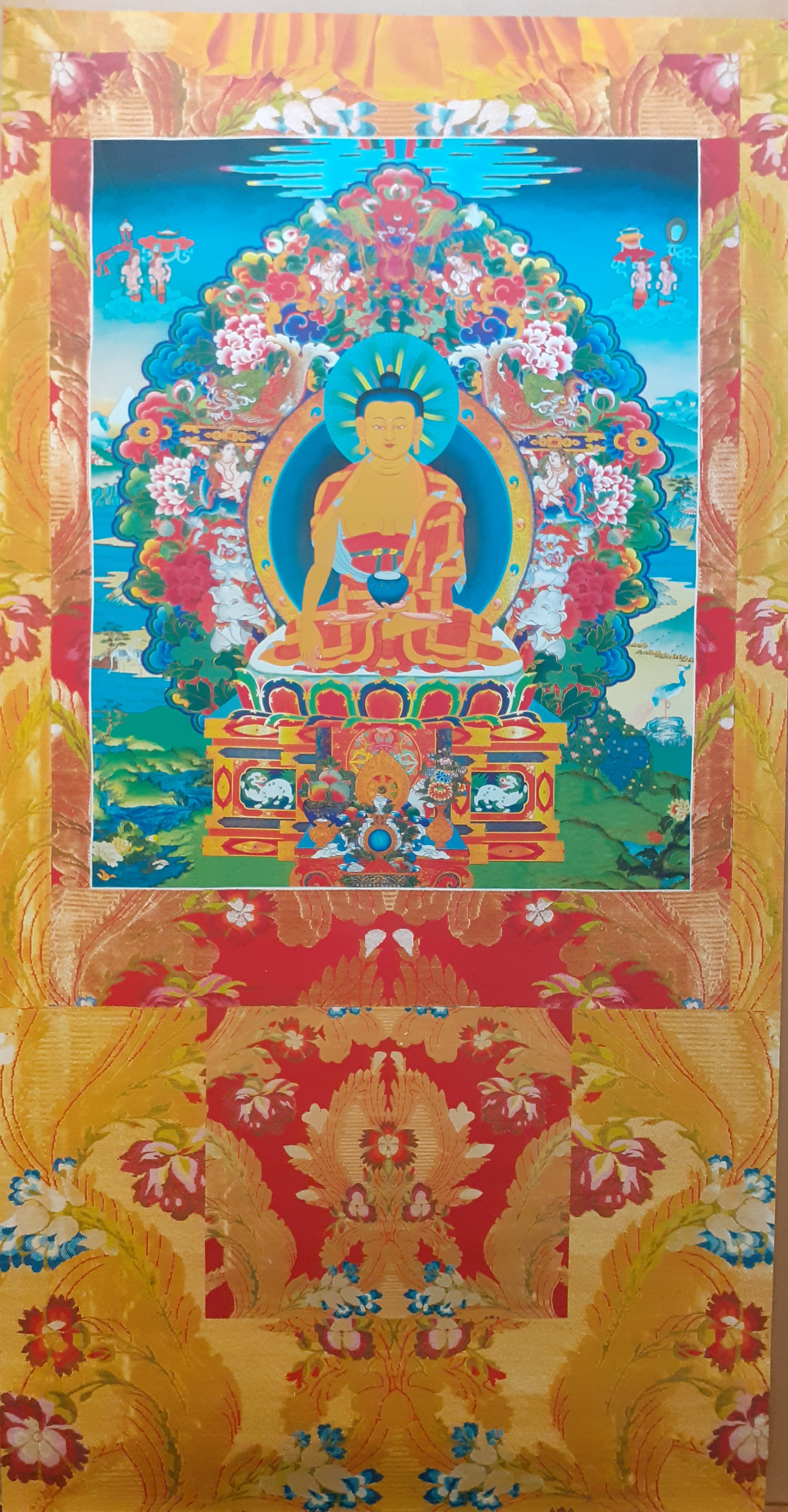 Buddha Shakyamuni with the Six Paramitas Vinyl Thangka Amarillo