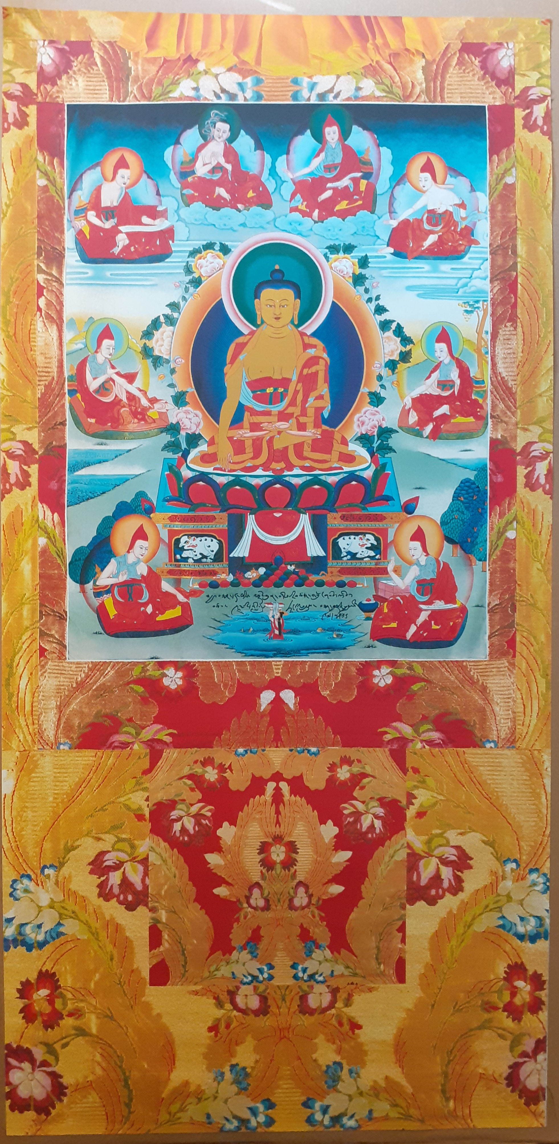 Buddha Shakyamuni with the Six Ornaments and Two Most Excellent Ones vinyl Thangka Yellow