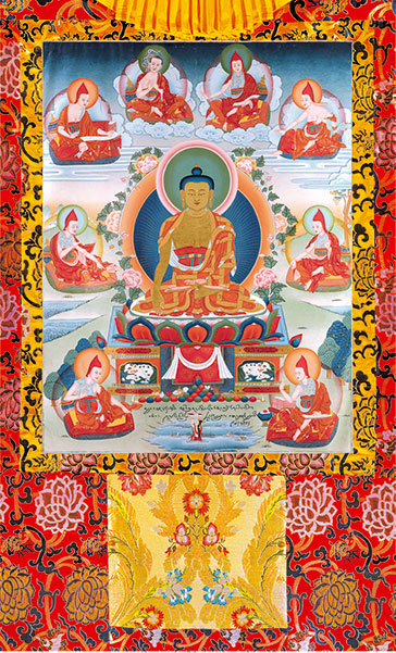 Buddha Shakyamuni with the Six Ornaments and Two Most Excellent Ones vinyl Thangka Red