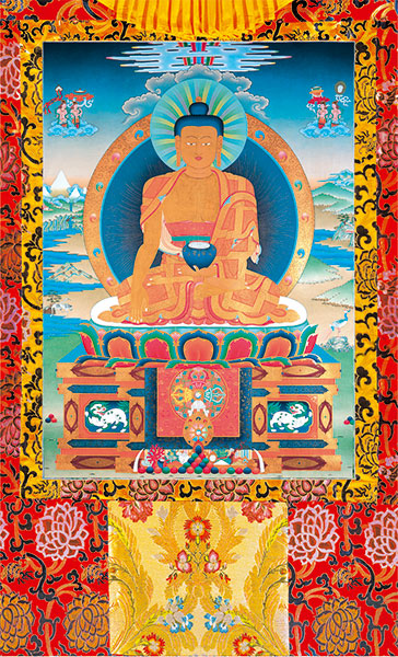 Buddha Shakyamuni Vinyl Thangka Red Large