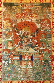 Photos of Thangkas and images of deities