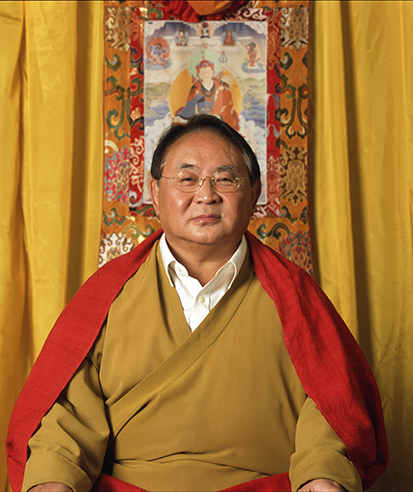 Sogyal Rinpoche with Guru Rinpoche thangka Photos 3 sizes