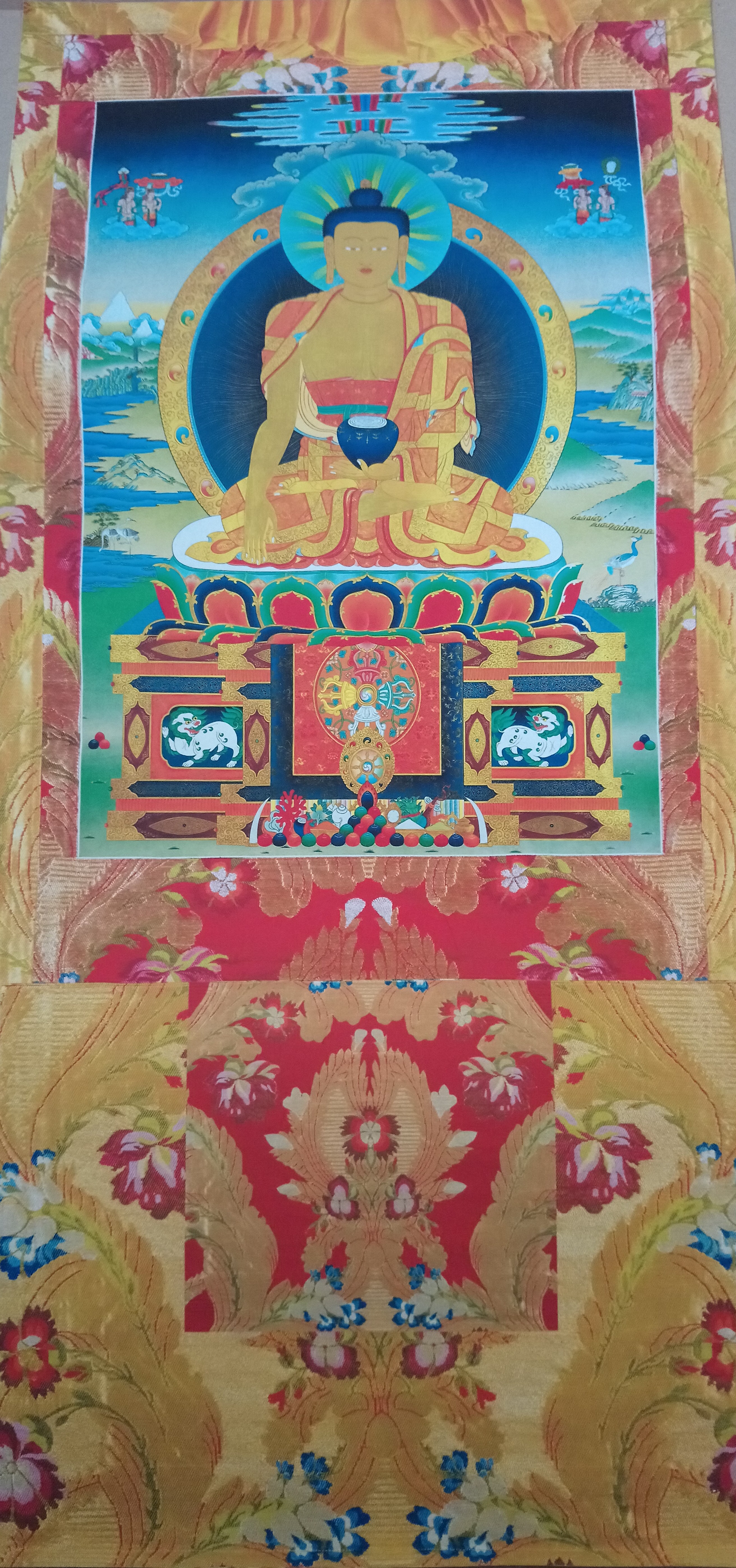 Buddha Shakyamuni Vinyl Thangka Yellow Large