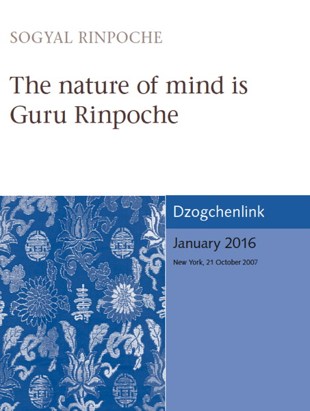 The nature of mind is Guru Rinpoche MP3 + MP4 CDs