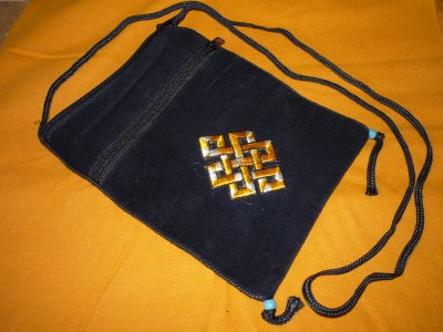 Passport size black velvet pouch