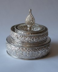 Mandala Offering Set White metal 2 sizes