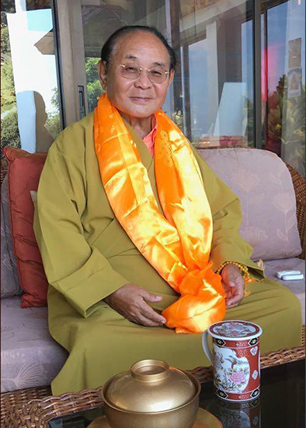 Sogyal Rinpoche with yellow katak Photos 3 sizes