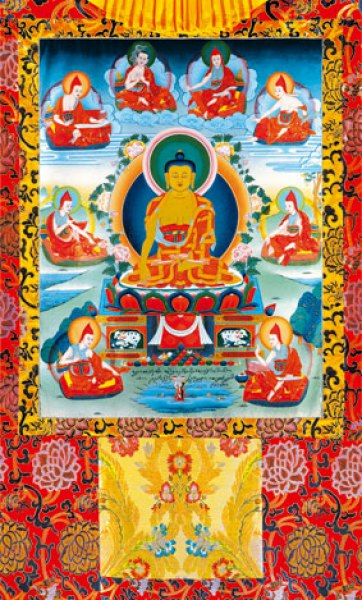 Buddha Shakyamuni with the Six Ornaments and Two Most Excellent Ones Vinyl Thangka