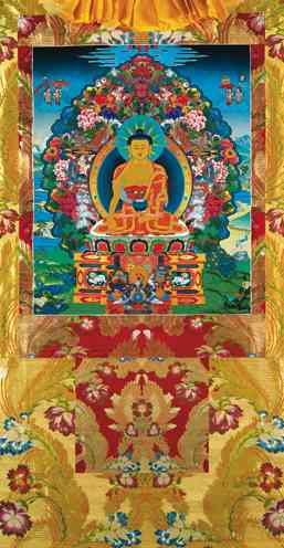 Buddha Shakyamuni with the Six Paramitas Vinyl Thangka