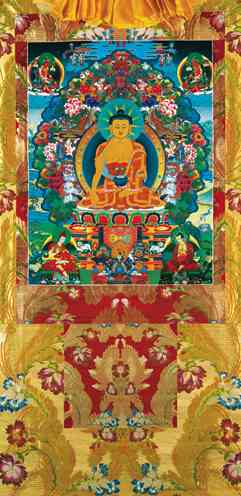 Buddha Shakyamuni with Maitreya, Manjushri, Asanga and Nagarjuna. Vinyl Thangka 5 sizes